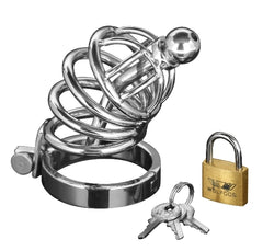 Asylum 4 Ring Locking Chastity Cage-S/M