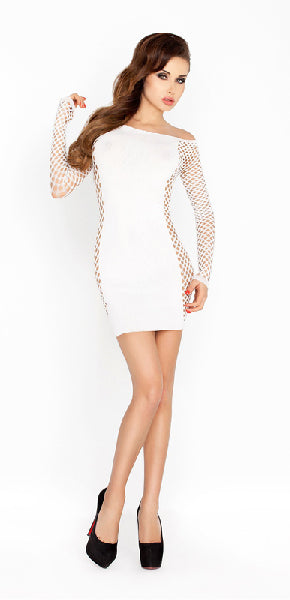 Mini Dress White With Mesh Sleeves and Sides