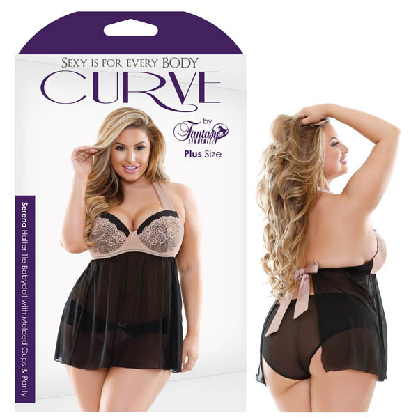 Curve Serena Halter Tie Babydoll with Molded Cups & Panty