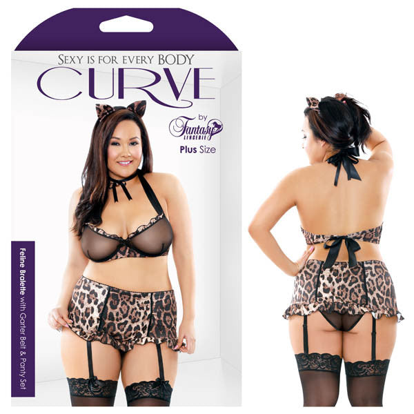 FELINE BRALETTE WITH GARTER BELT & PANTY SET