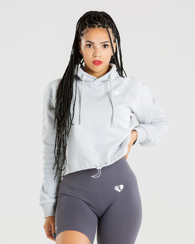 Power Cropped Hoodie | Mist Grey
