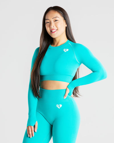 Power Seamless Long Sleeve Crop Top | Ceramic Turquoise