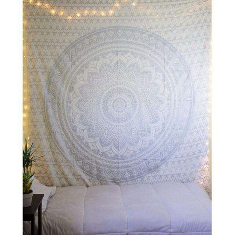 myyoga.love:Silver Mandala Tapestry,tapestry