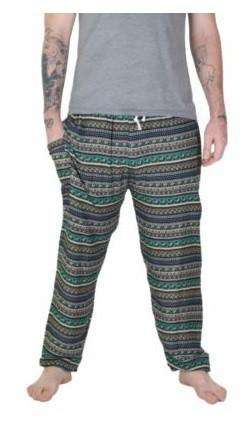 myyoga.love:Green Blue Stripes Erkek Boho Pantalon,boho pantalon