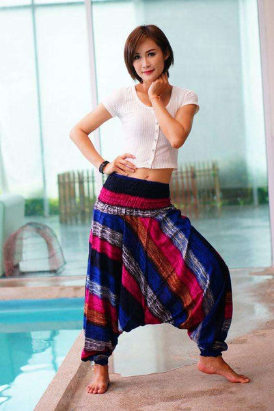 myyoga.love:Color Stripe Comfy Boho Pantalon,