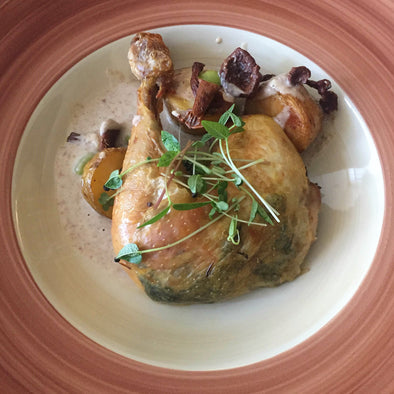 Lemon-Thyme Roast Chicken, Creamy Chanterelle Sauce