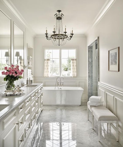 Bathroom lighting ideas to die for kismet decals heres something really sybaritic about a pretty chandelier in a bathroom it makes the bathroom look less like a bathroom and a little more like a place aloadofball Choice Image