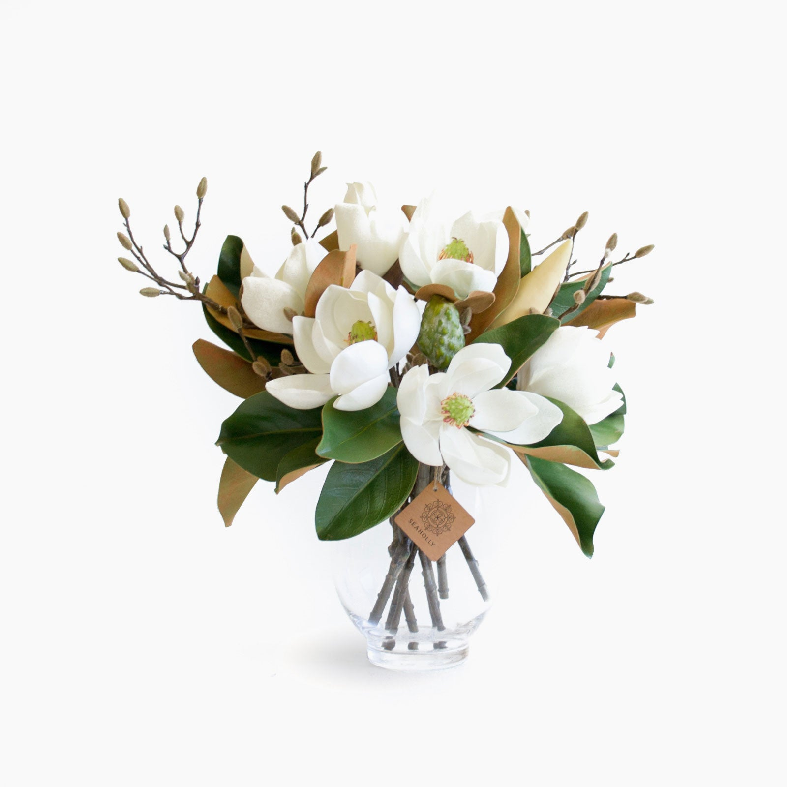 Artificial magnolia and budding branch bouquet