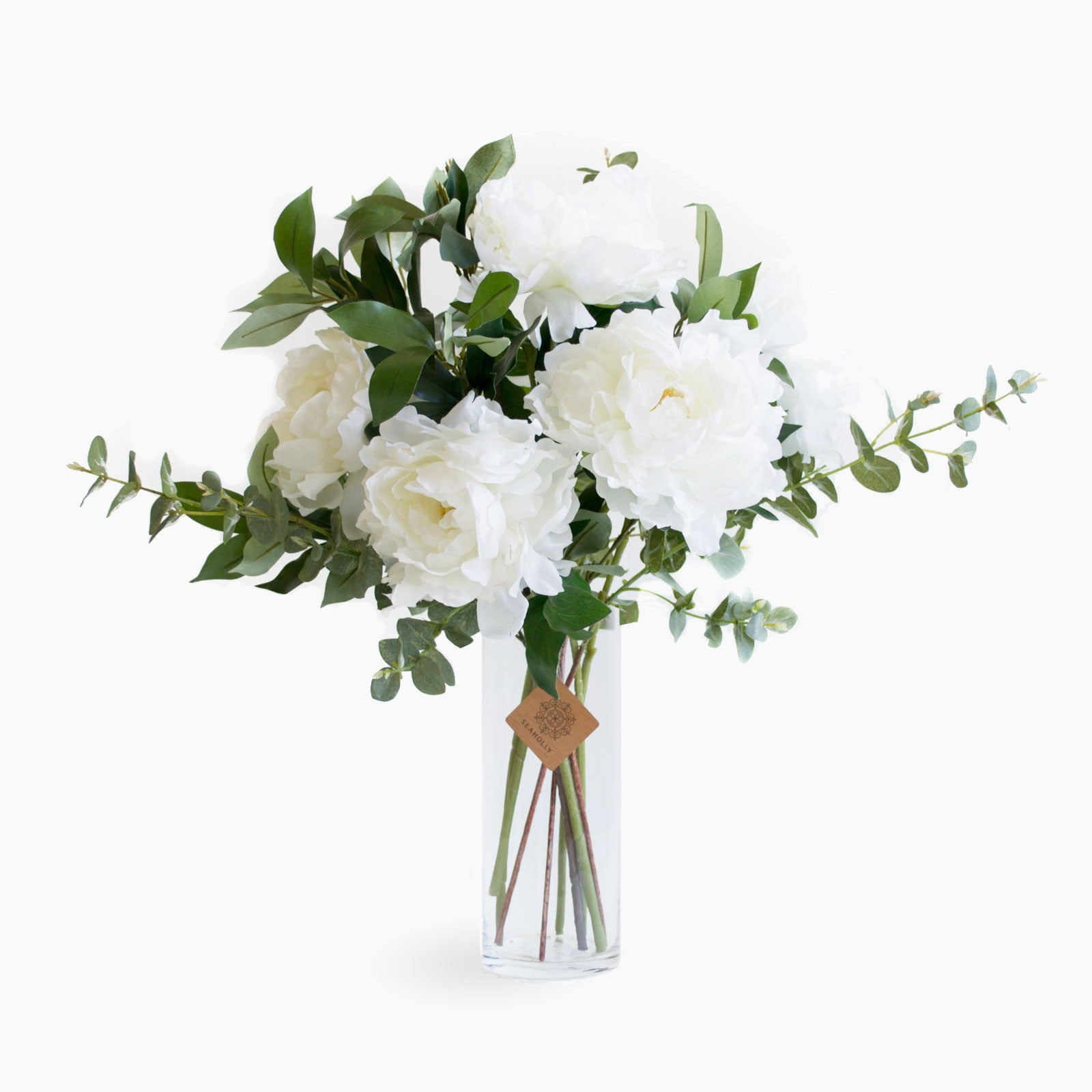 White peonies and foliage