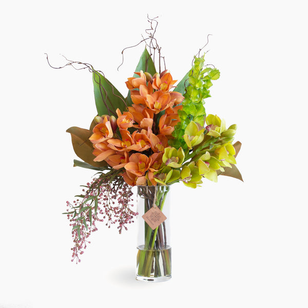 Large Artificial Orange And Green Cymbidium Orchid Bouquet And Arrangement Seaholly Flowers