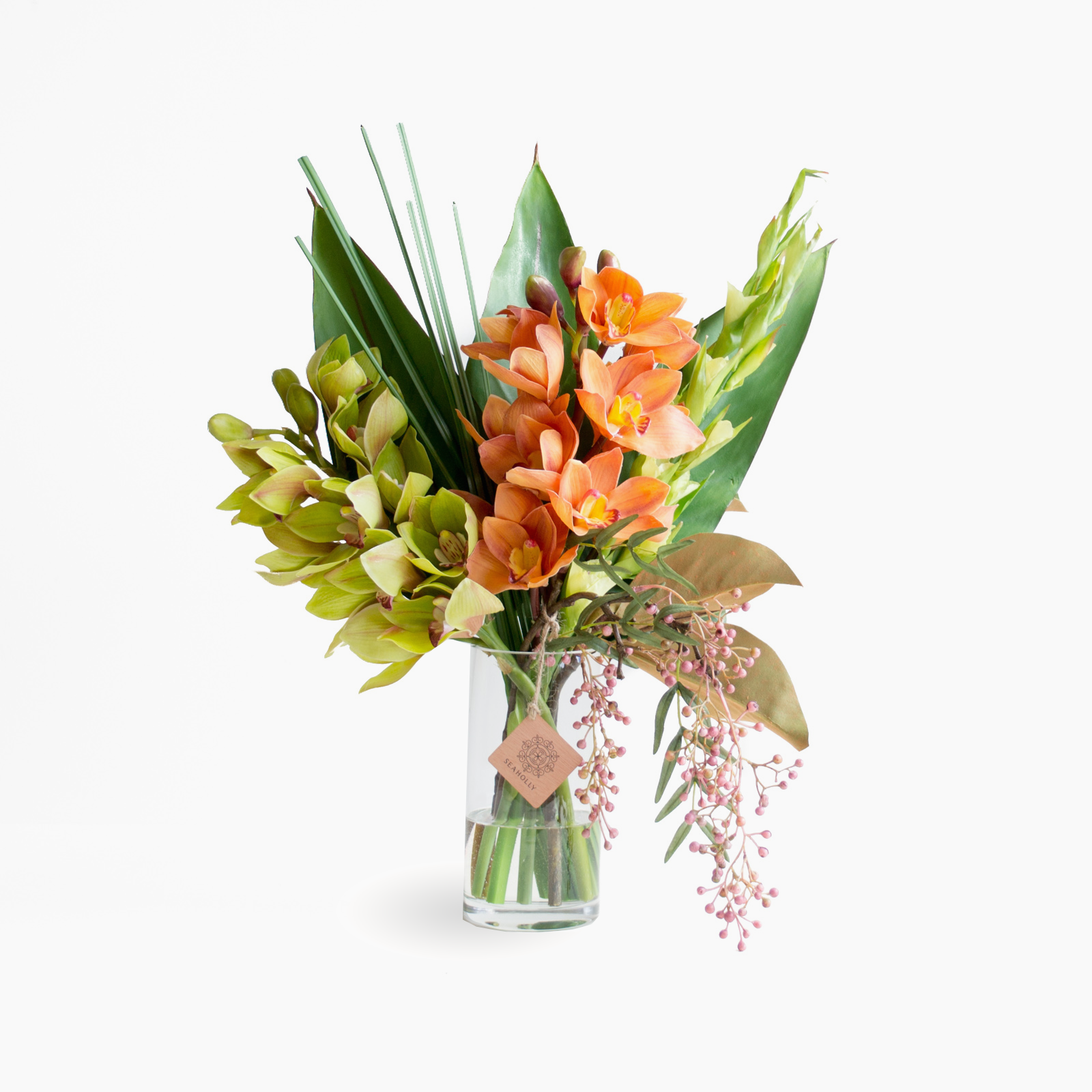 Orange and green cymbidium orchid (Medium)