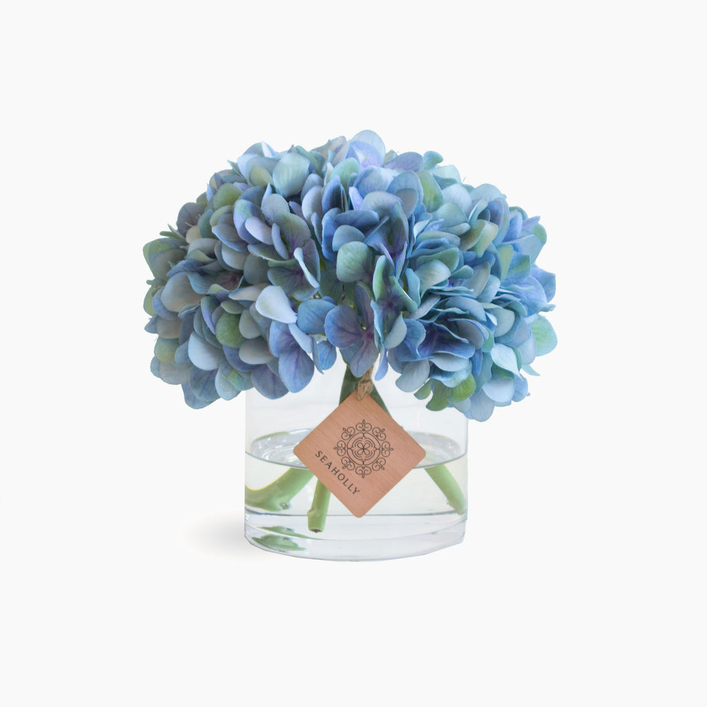 Small blue hydrangea arrangement