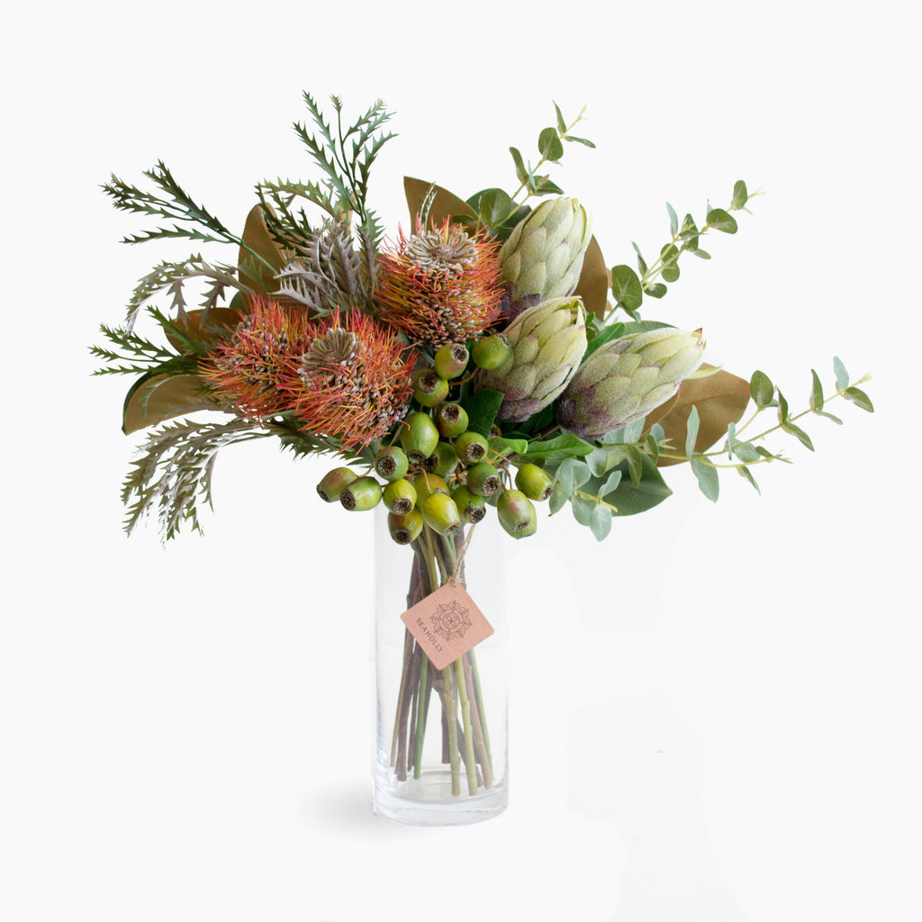 Leucospermum, protea bud and gum nut with mixed foliage
