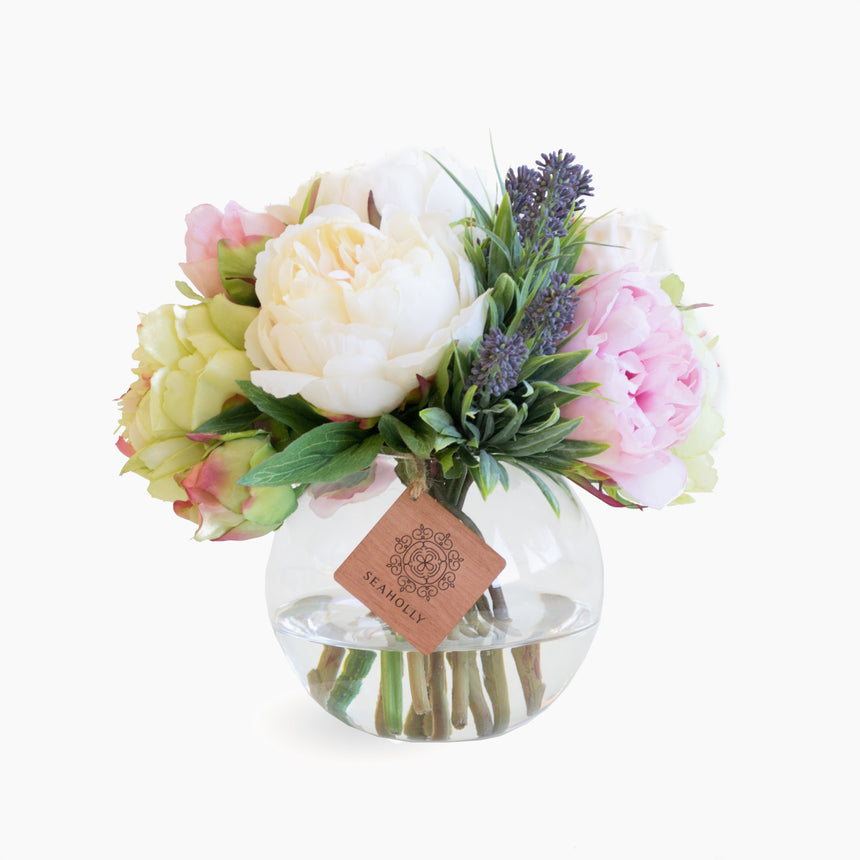 Mixed peonies and lavender