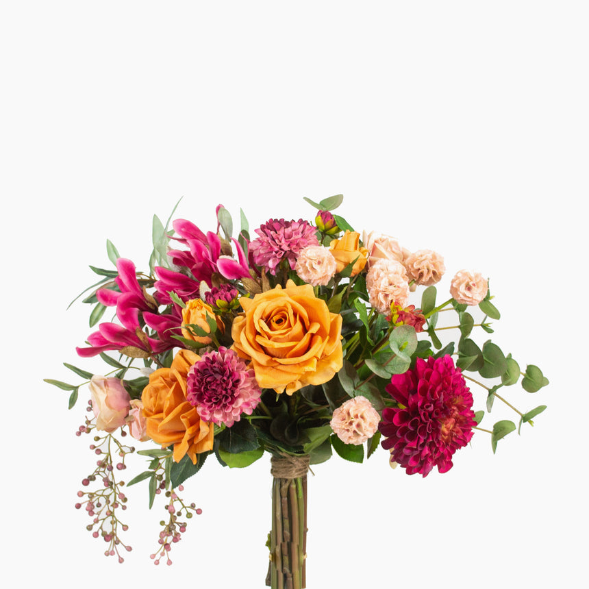 Garden rose, dahlia, scabiosa pods and fuschia magnolia with pepper berry