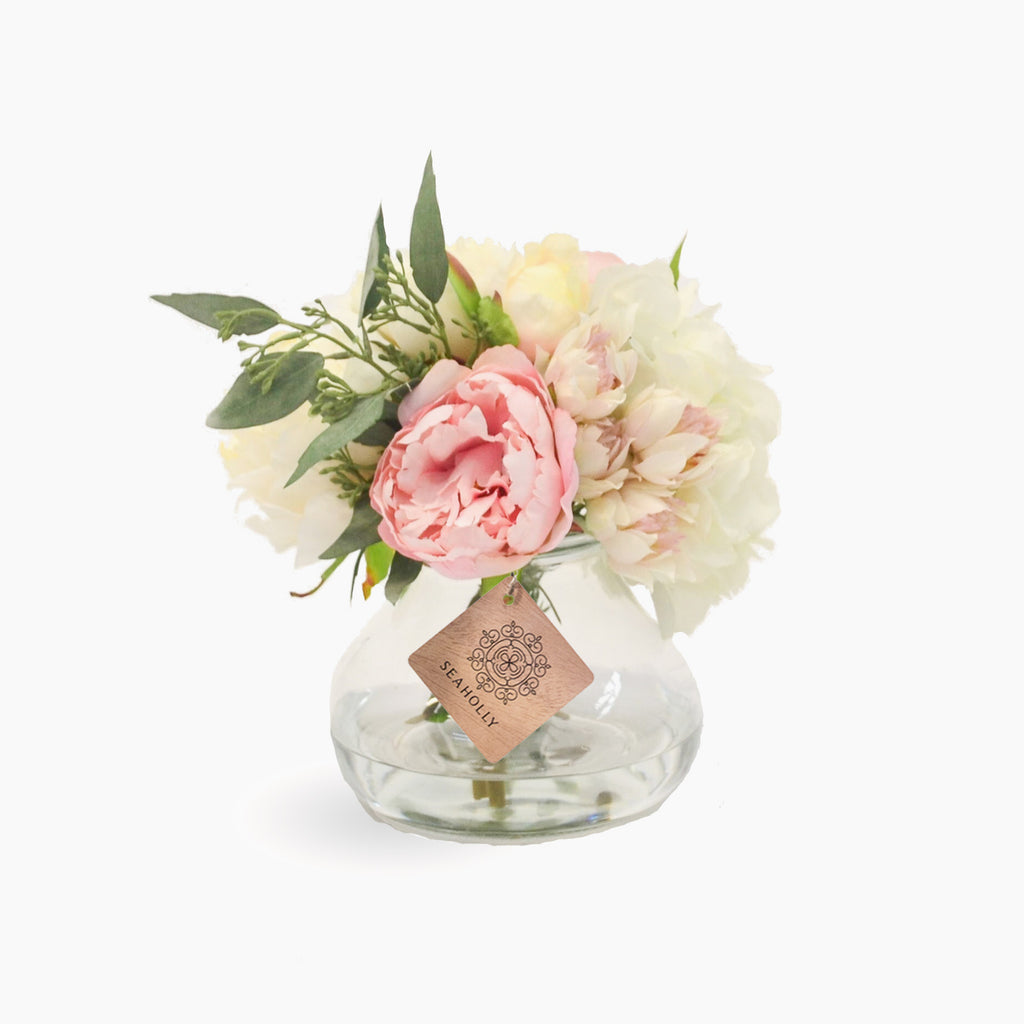 Peonies, hydrangea and blushing brides