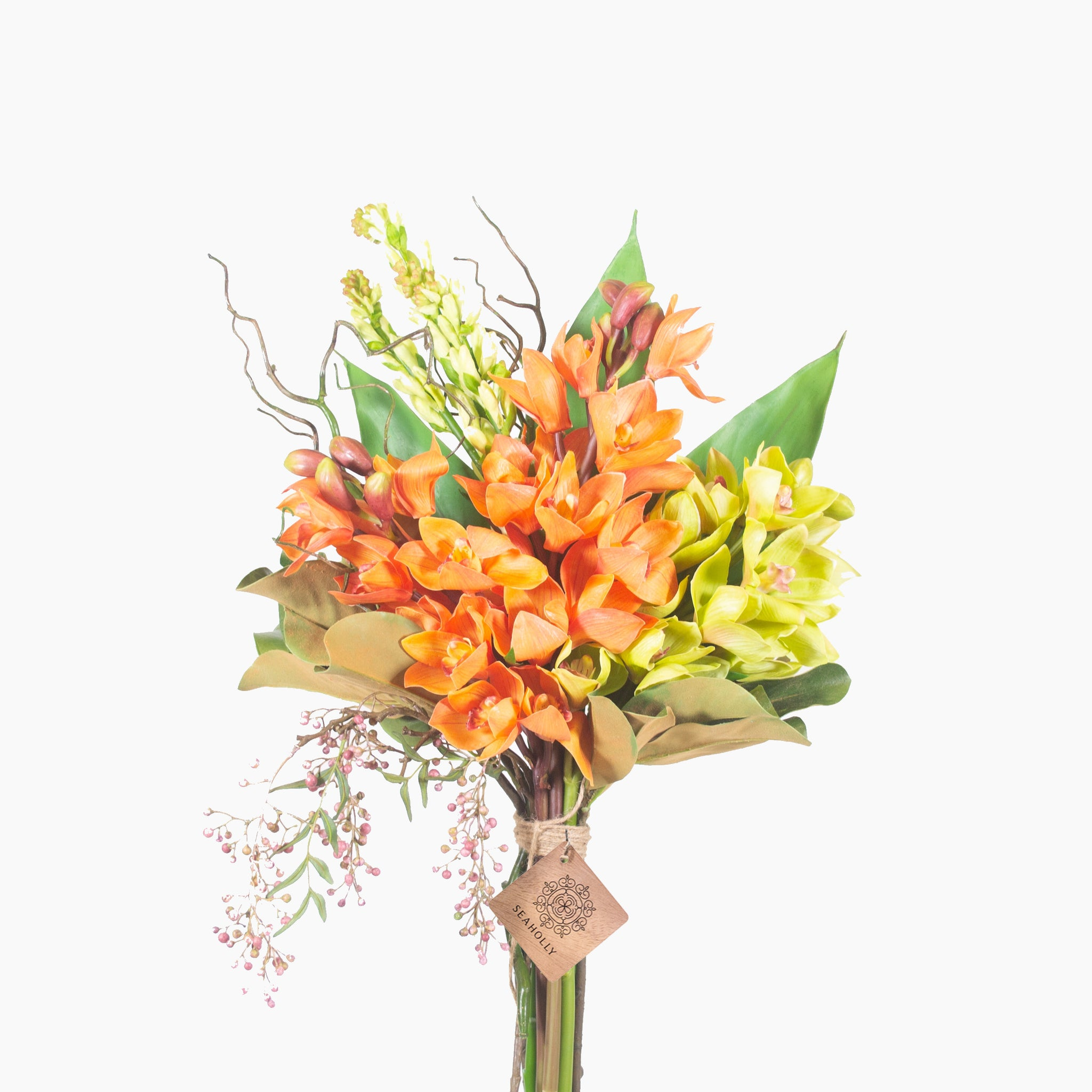 Orange and green cymbidium and vanda orchid (Large)
