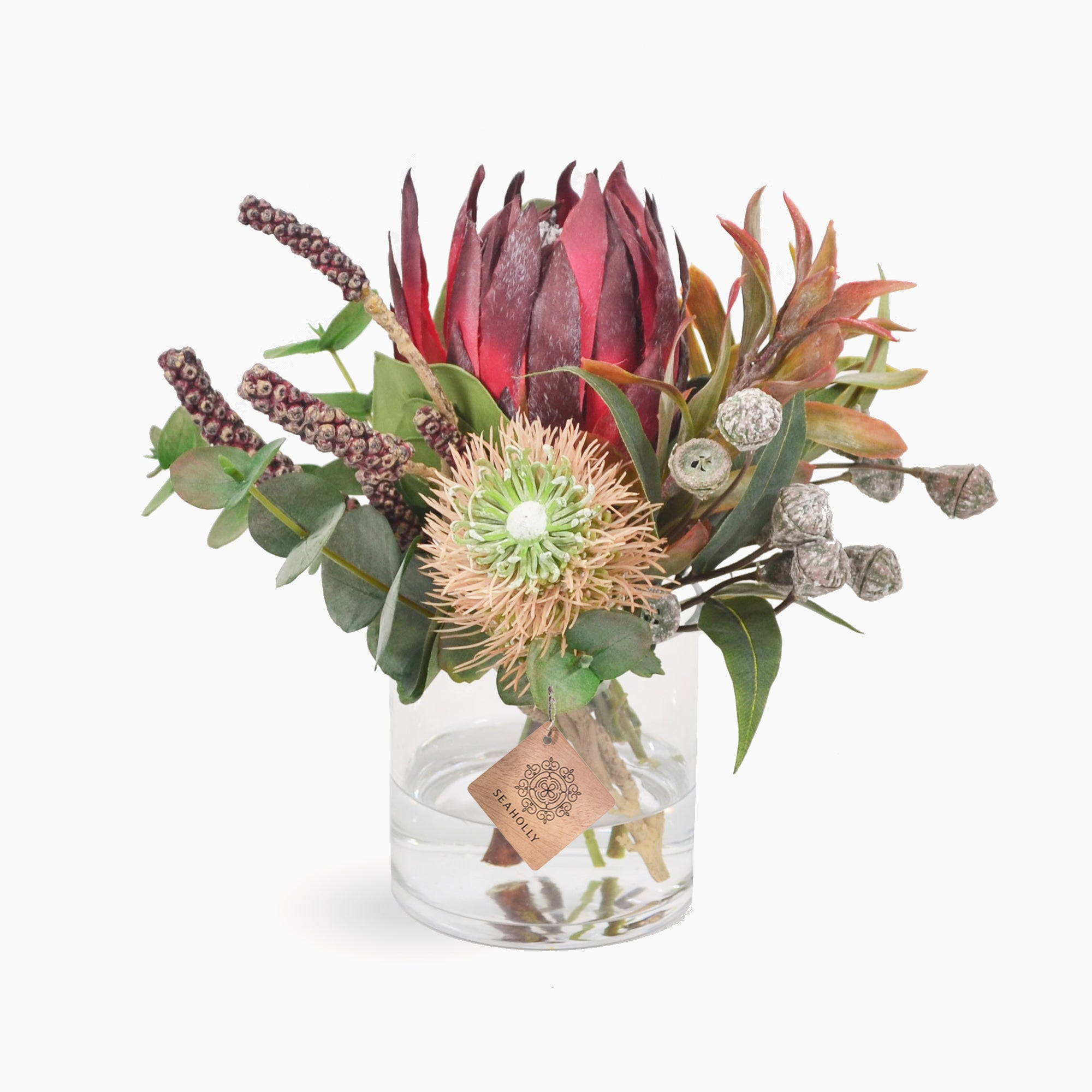 Burgundy protea, bottlebrush pods and gumnuts (Small)