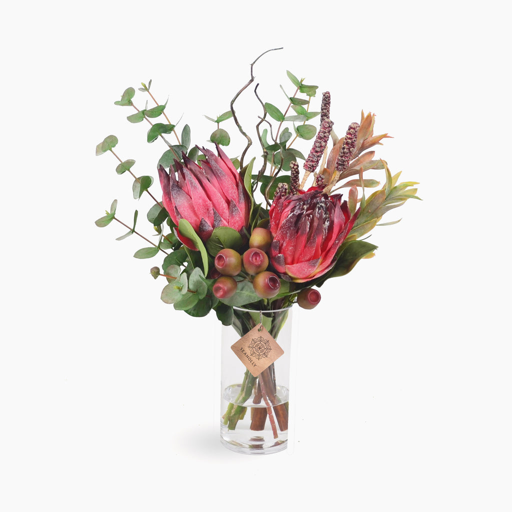 Burgundy protea, bottlebrush pods and gumnuts (Medium)