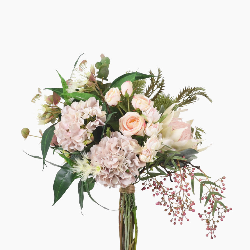 Cream king protea, banksia, hydrangea and rose with mixed native foliages (Large)