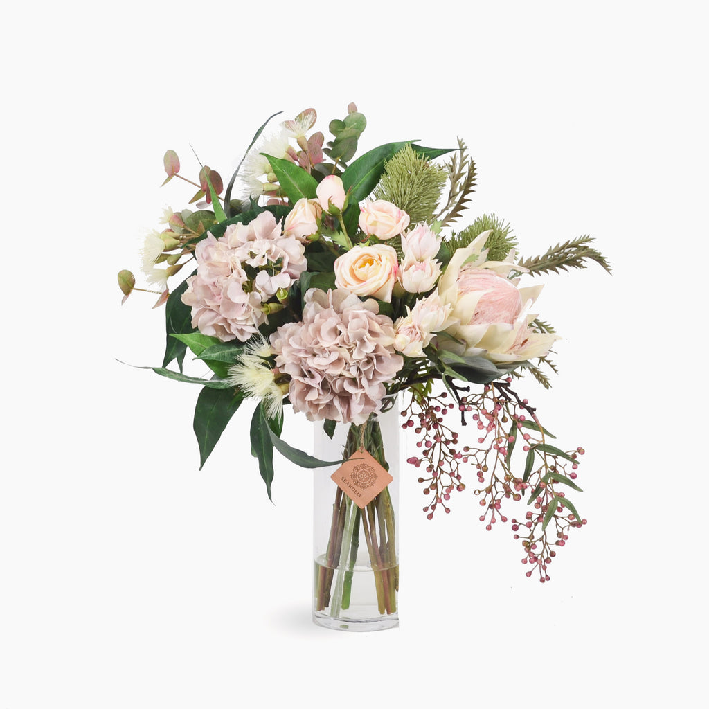 Cream king protea, banksia, hydrangea and rose with mixed native foliages