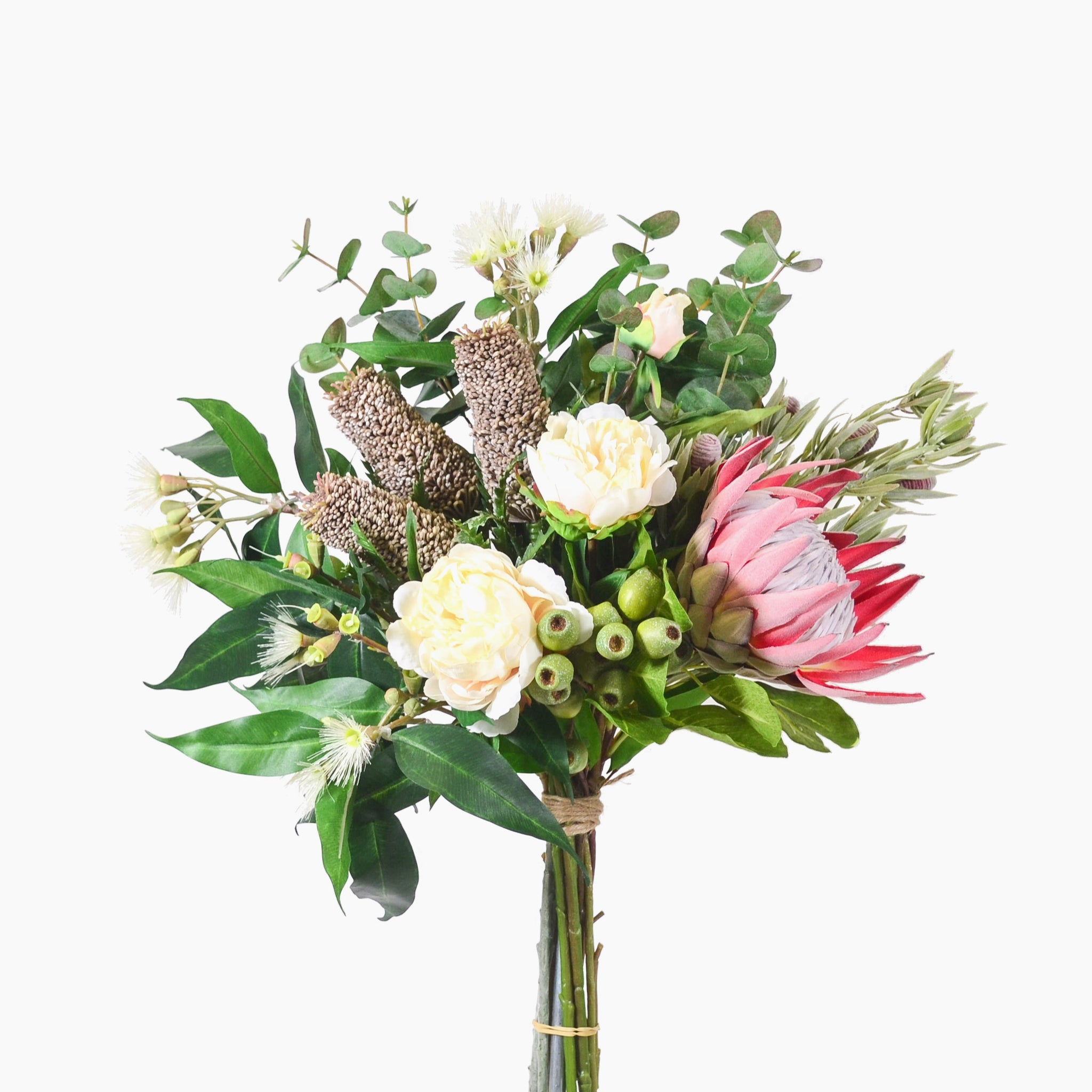 Pencil banksia, king protea, peony and leucadendron with eucalyptus blossom