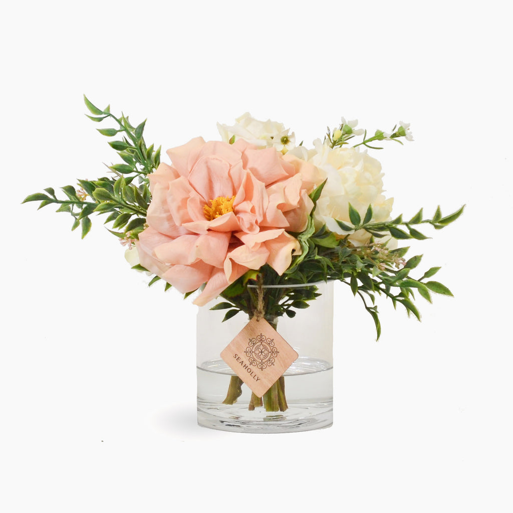 Blush rose, hydrangea, rose, peony and dahlia with pieris (Small)