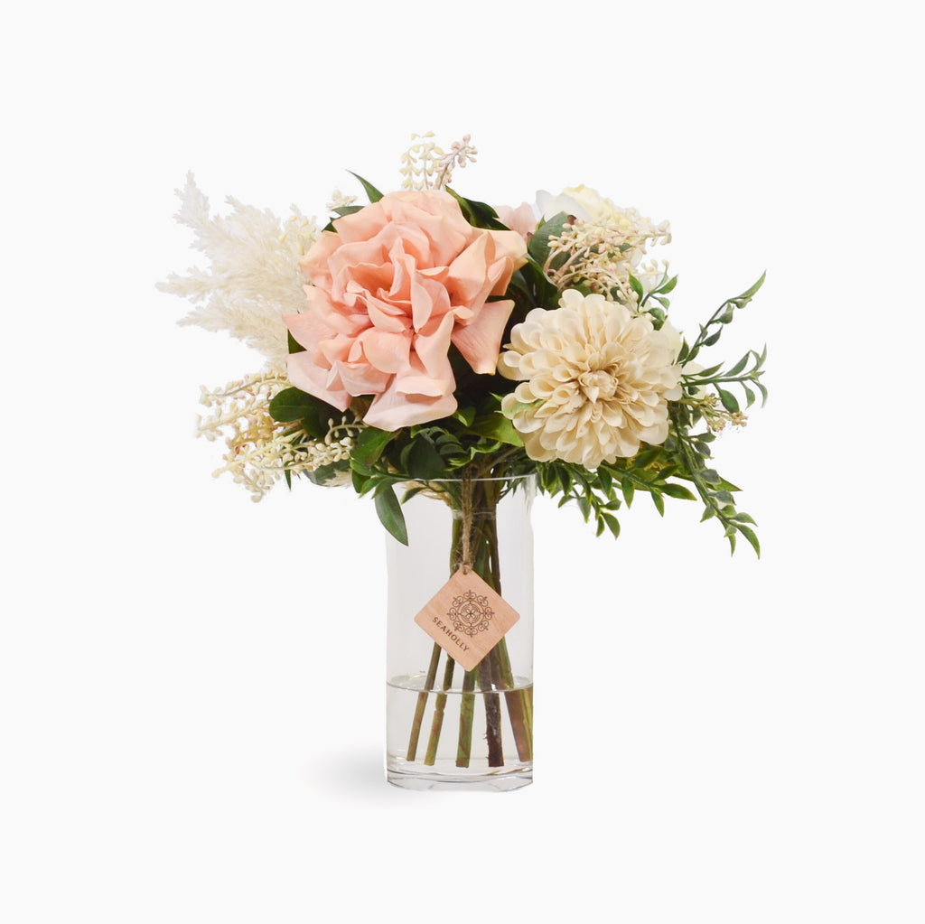 Blush rose, hydrangea, peony, dahlia and pieris with plume grass (Medium)