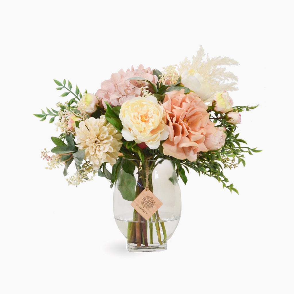 Blush rose, hydrangea, peony, dahlia and pieris with plume grass (Large)