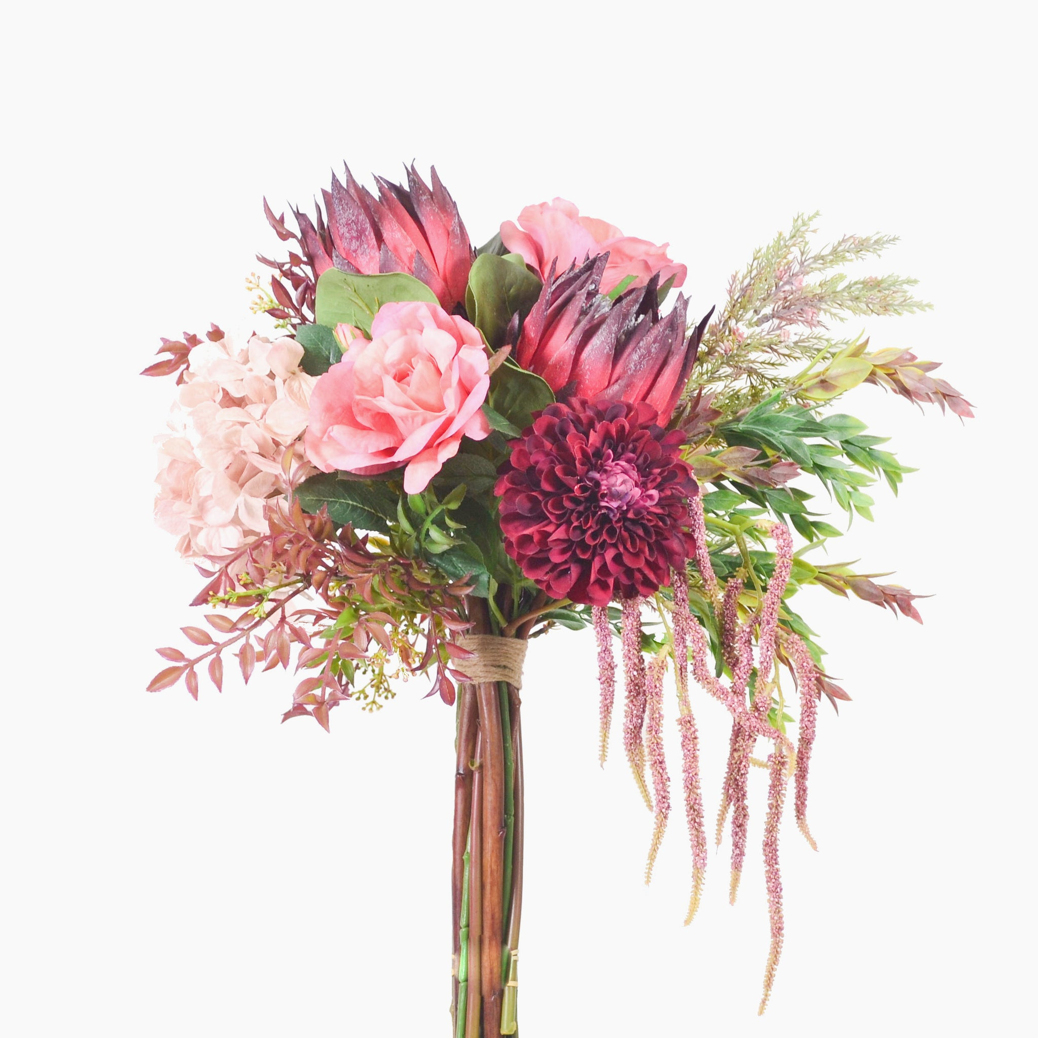 Burgundy king protea, dahlia, hydrangea and rose with mixed foliage