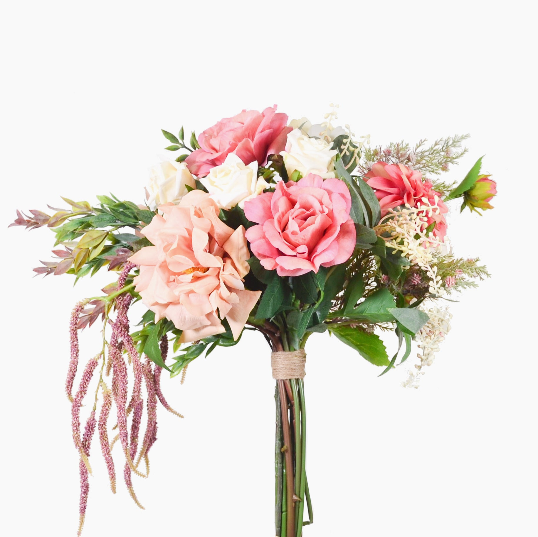 Mixed roses, dahlia and amaranthus with mixed foliage