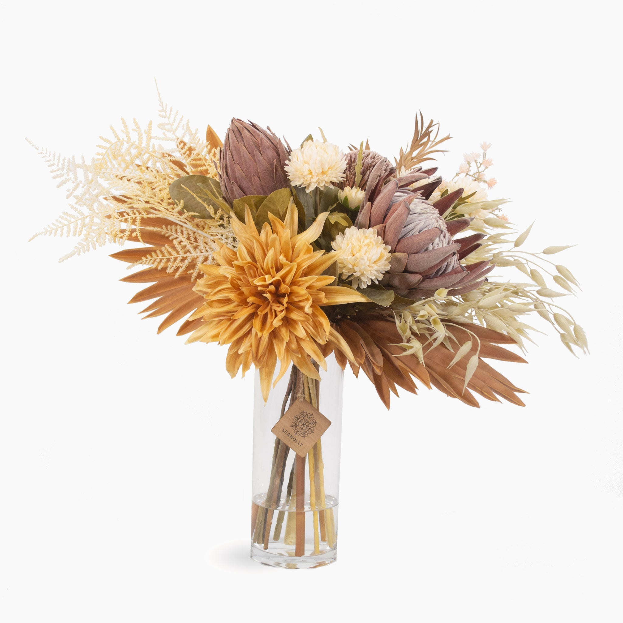 Preserved king protea, dahlia, banksia and mixed colour foliages