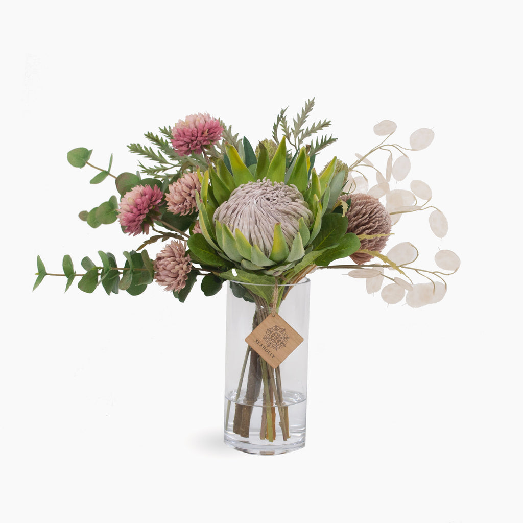 Green king protea, chrysanthemum, honesty, banksia and mixed native foliages