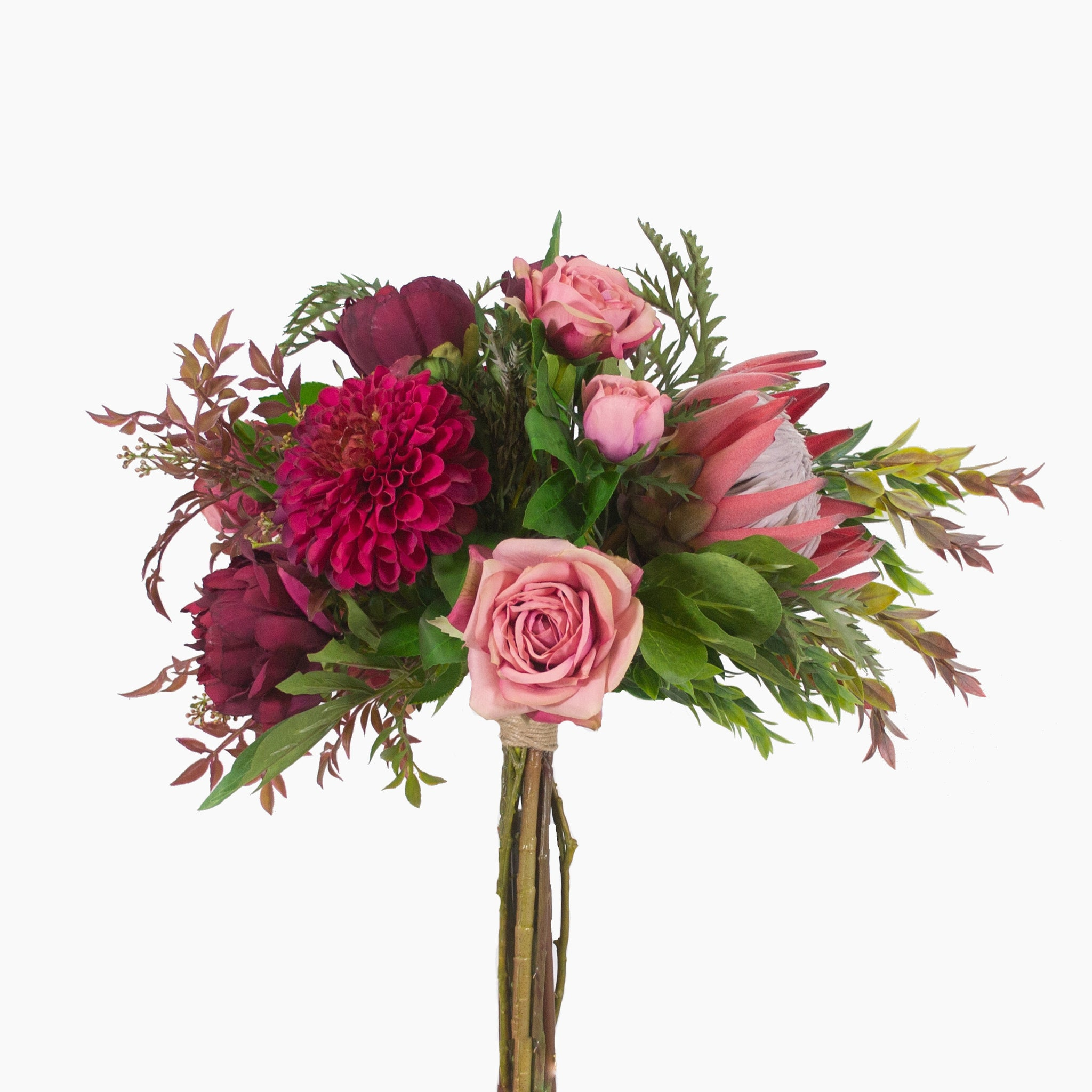 Dark pink king protea, rose, peony and dahlia with mixed foliage
