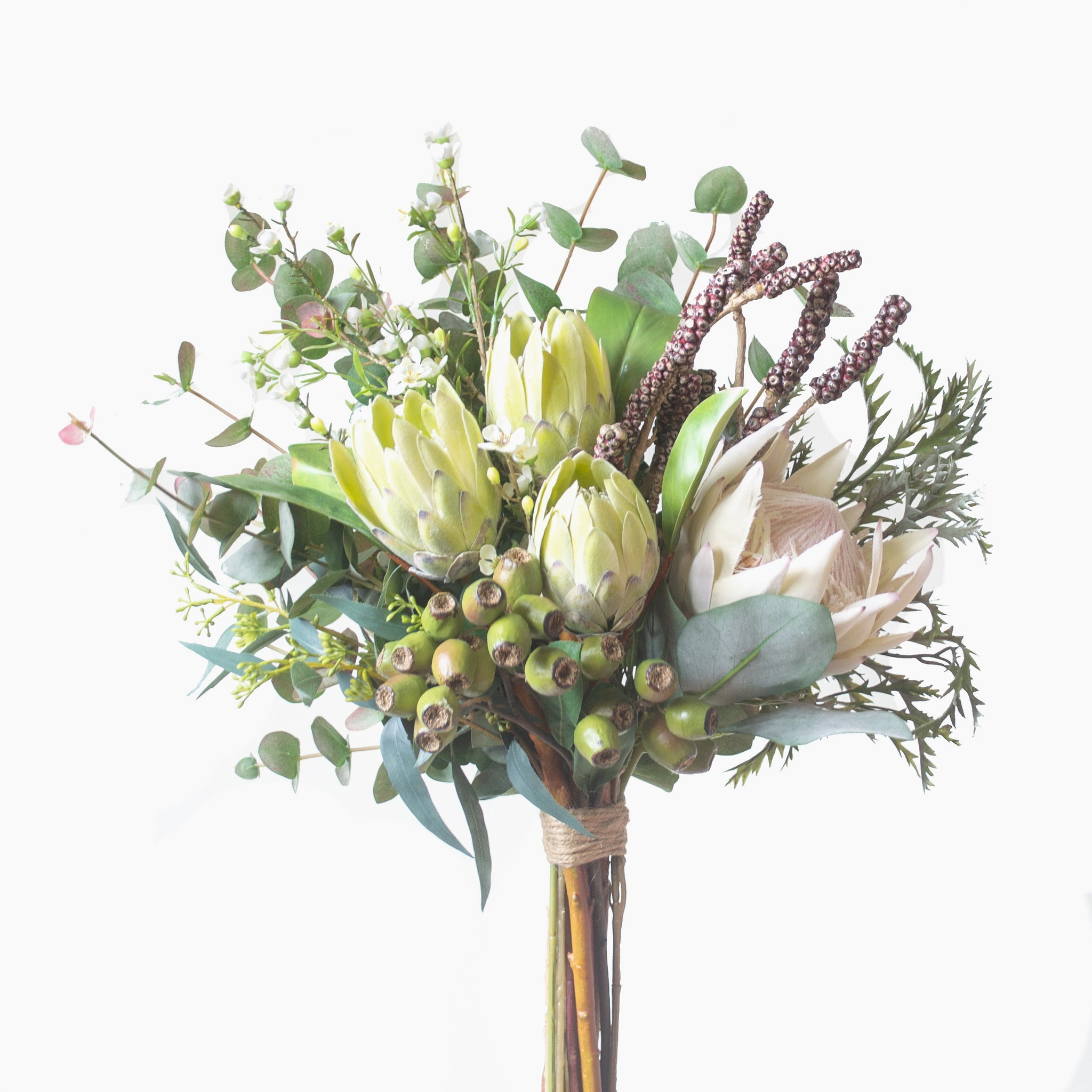 Cream and green protea, wax flower, bottlebrush pods and mixed native foliages