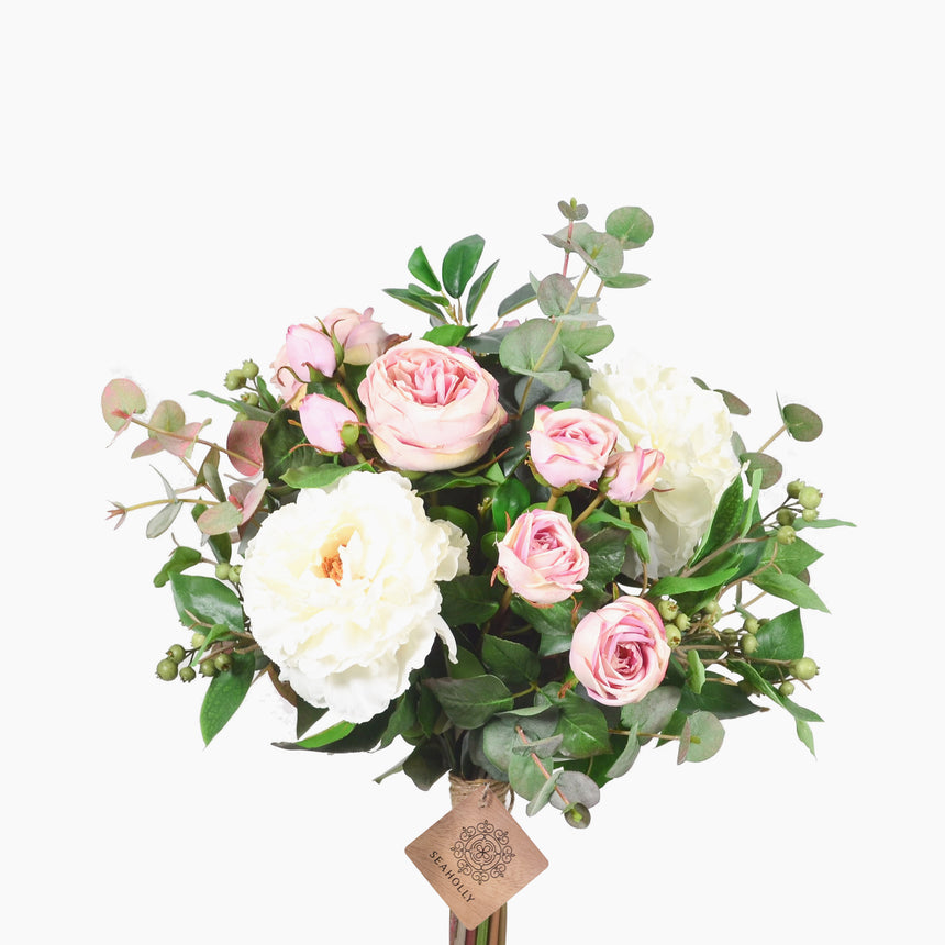 Dusty pink roses, peonies and mixed foliage (Large)