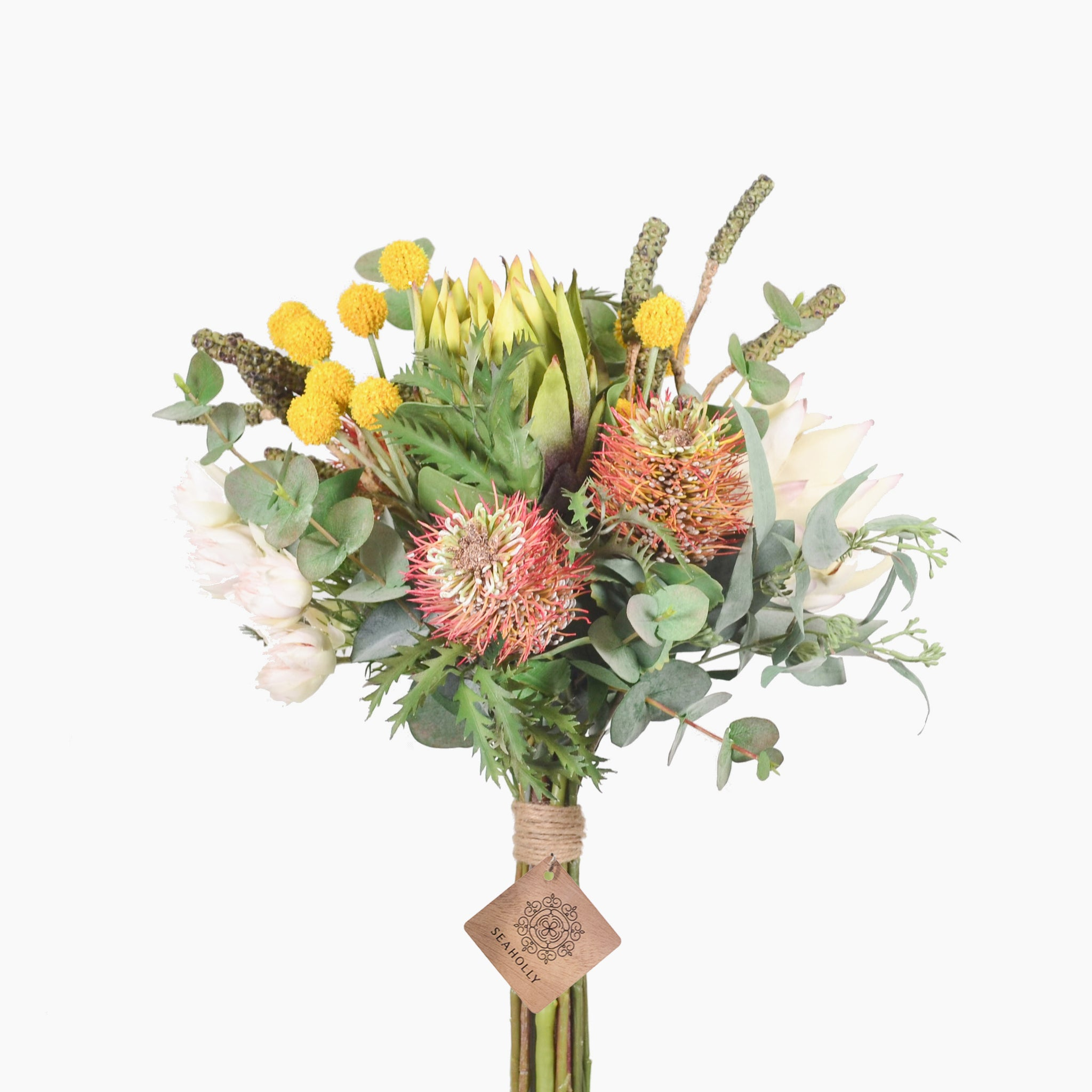 Green and cream protea, leucospermum, bottlebrush pods and billy buttons