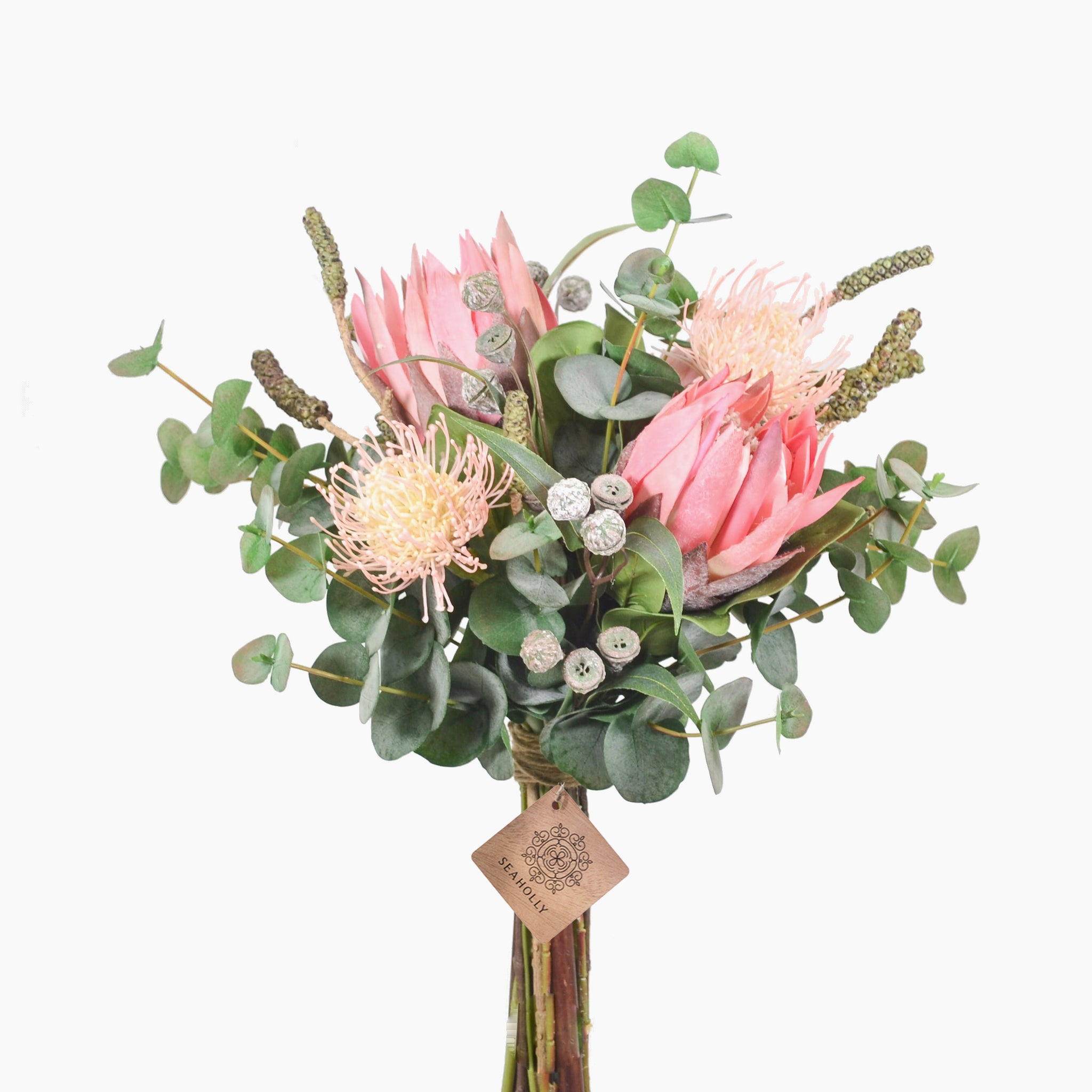Pink protea, protea needles, bottlebrush pods and eucalyptus pods