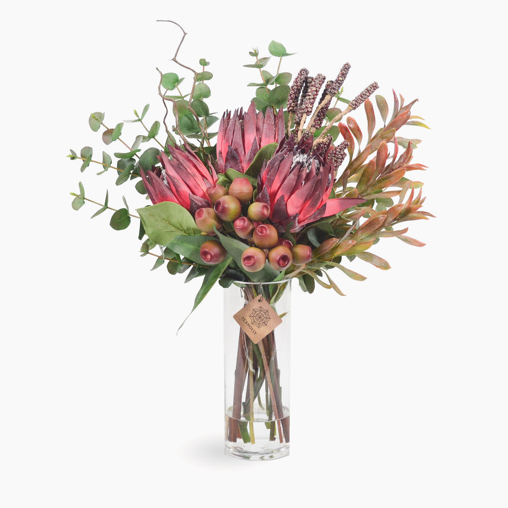 Burgundy king protea, bottlebrush pods and gum nuts (Large)