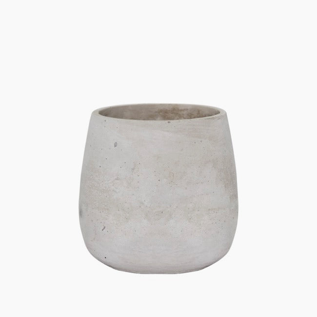 Rounded cement vase