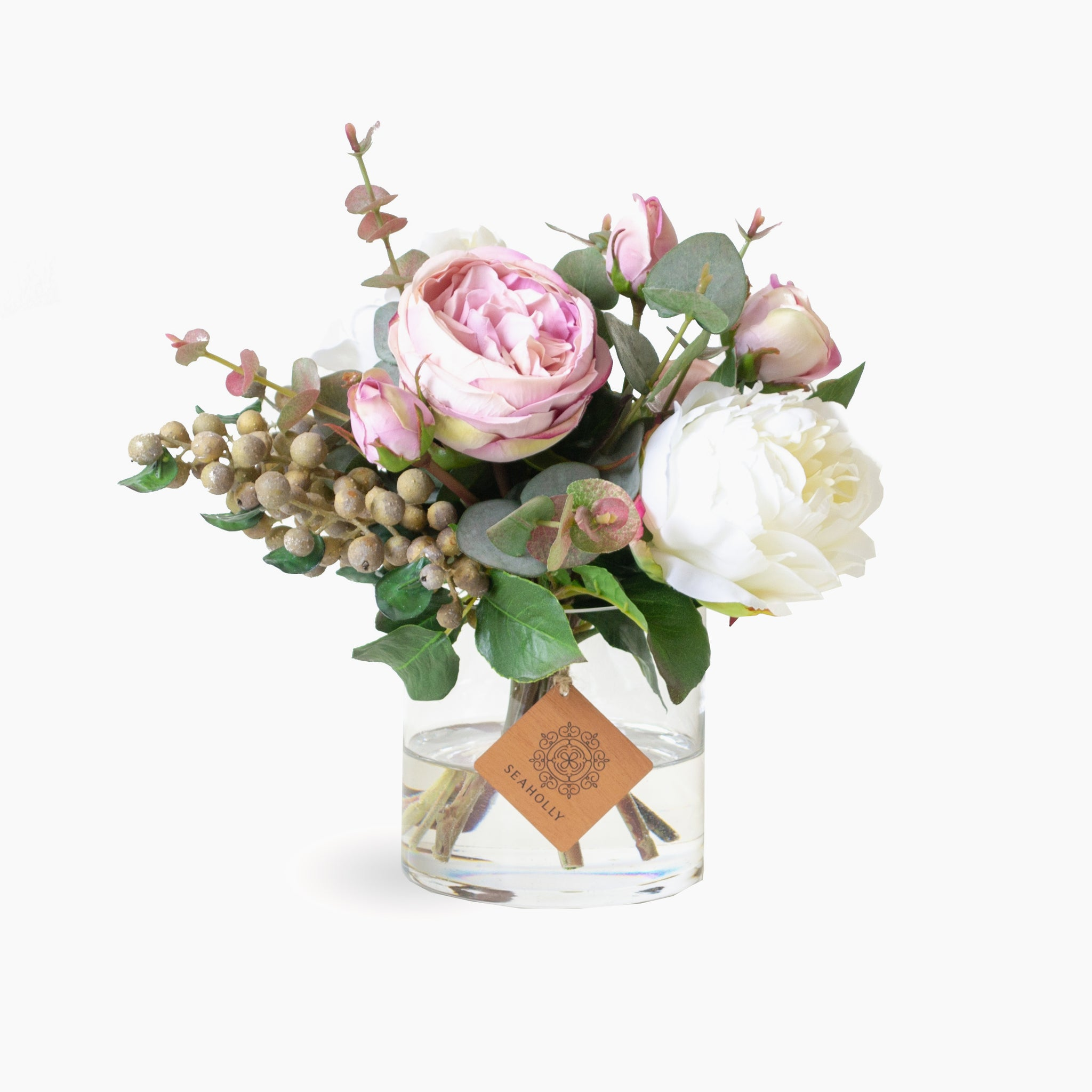 Dusty pink roses, peonies, berries and foliage (Small)