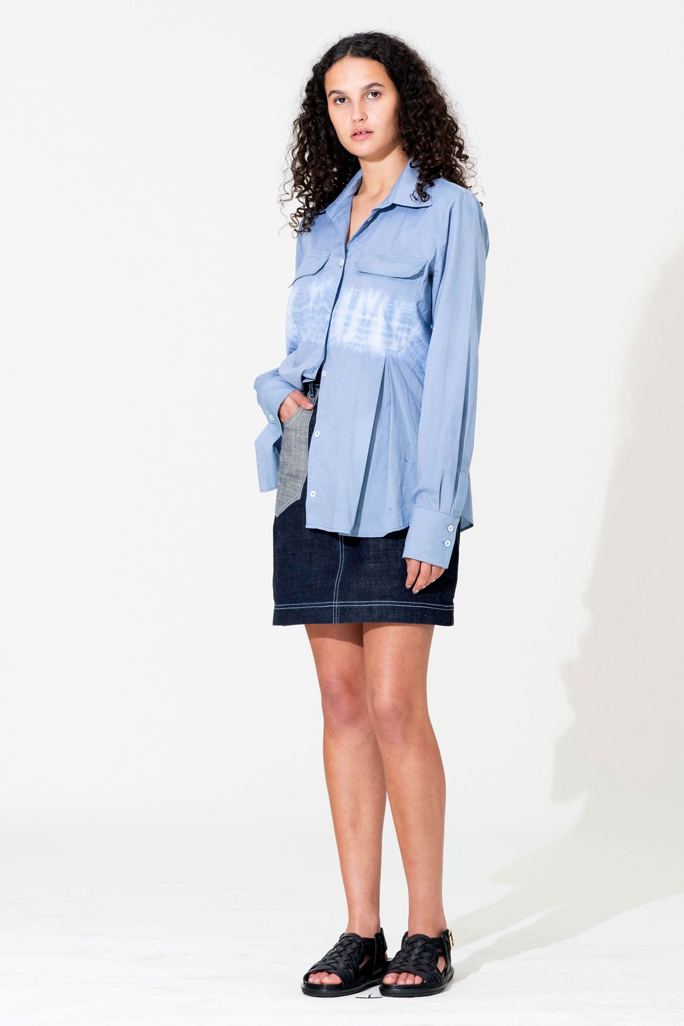Pleat Tie-Dye Shirt - Blue