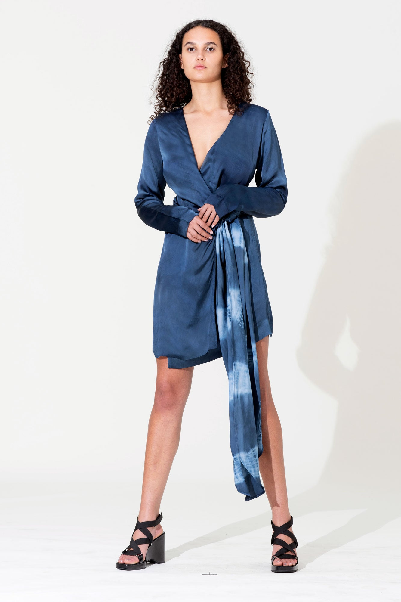 Bow Wrap Mini Dress - Blue Tie-Dye