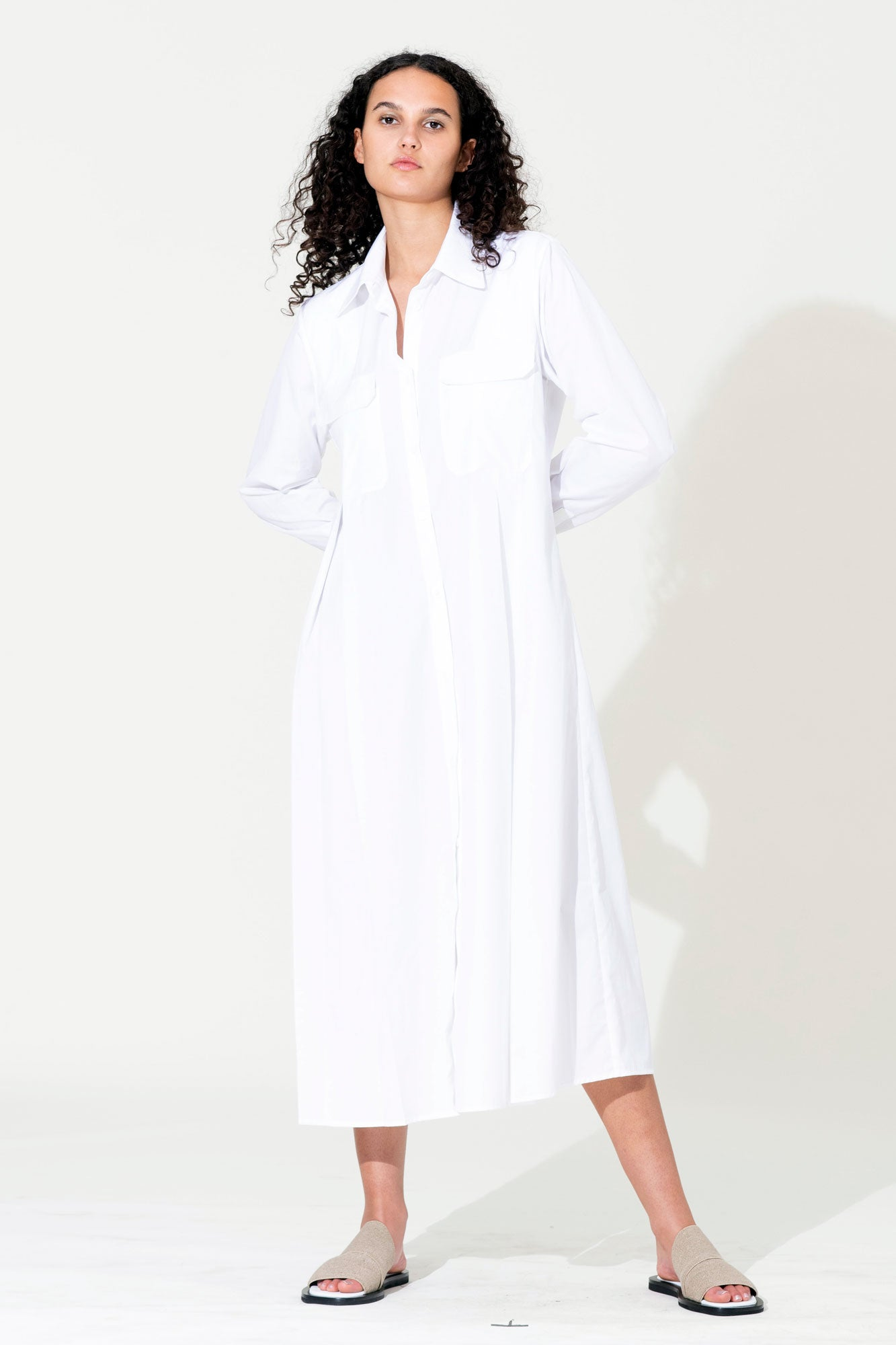 Pleat Shirt Dress - White