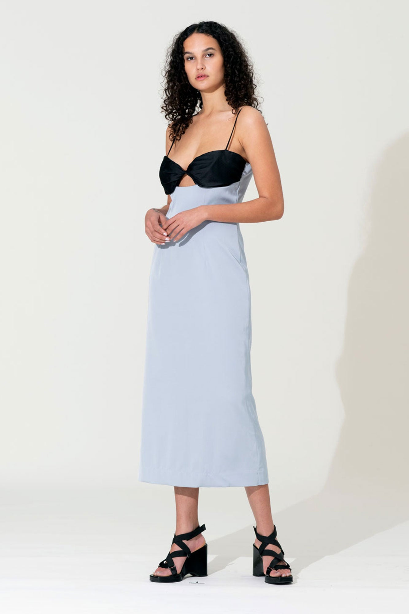 Twist Bustier Dress - Glacier / Black