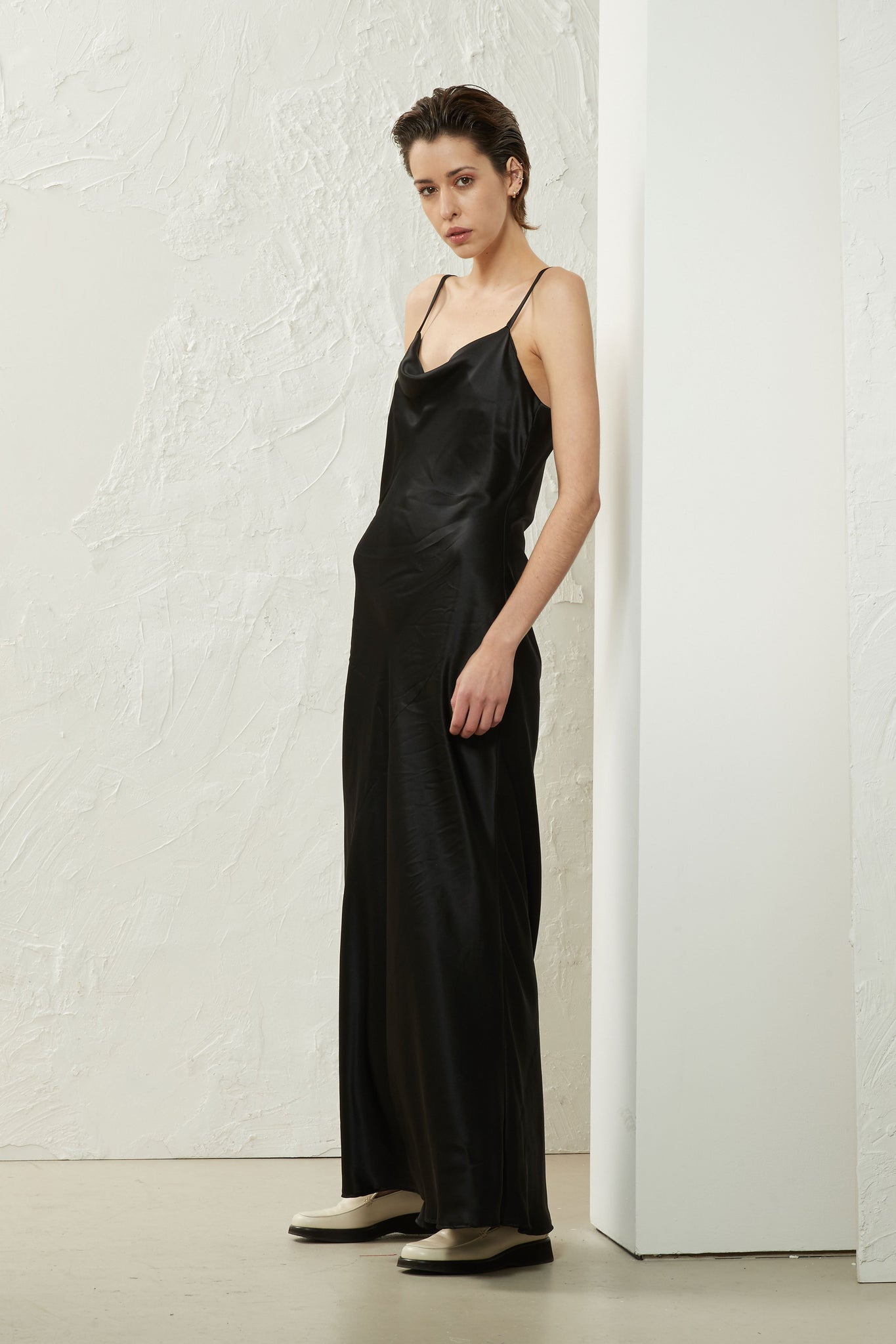 Cowl Neck Slip Dress Black - Wynn Hamlyn — Shop