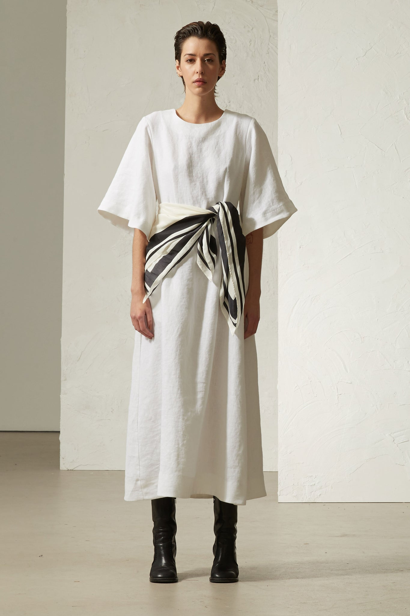 Scarf Maxi Dress White - Wynn Hamlyn — Shop