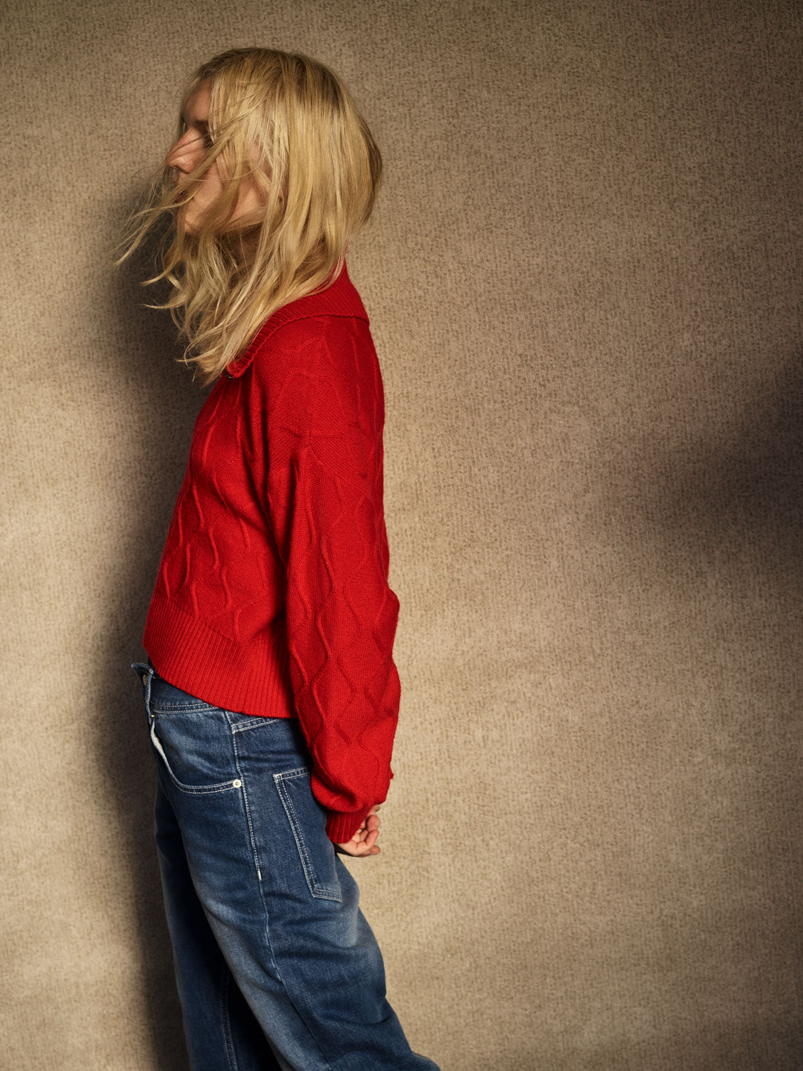 Zig Zag Cable Knit Sweater - Red