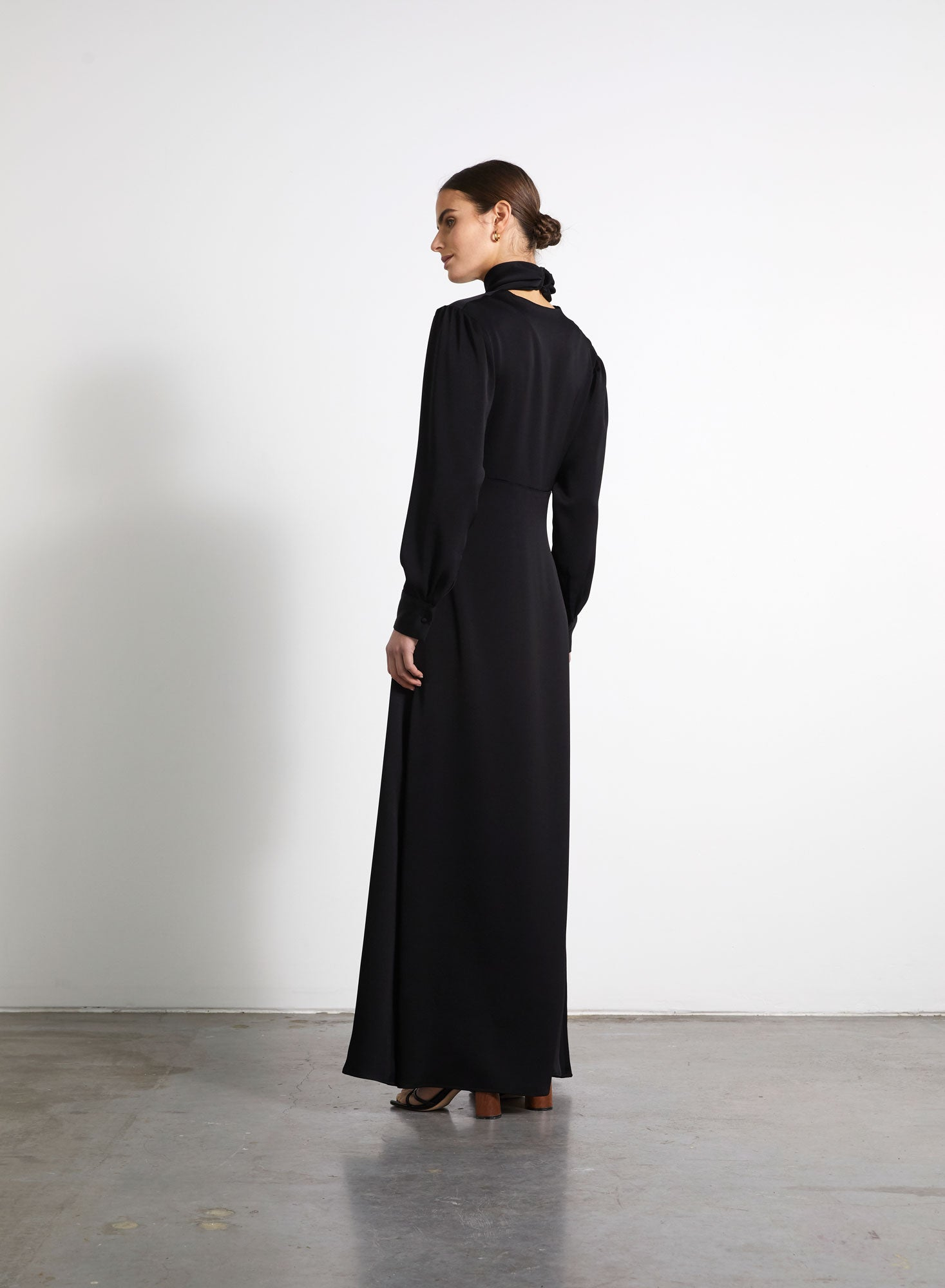 Cross Over Gown - Black