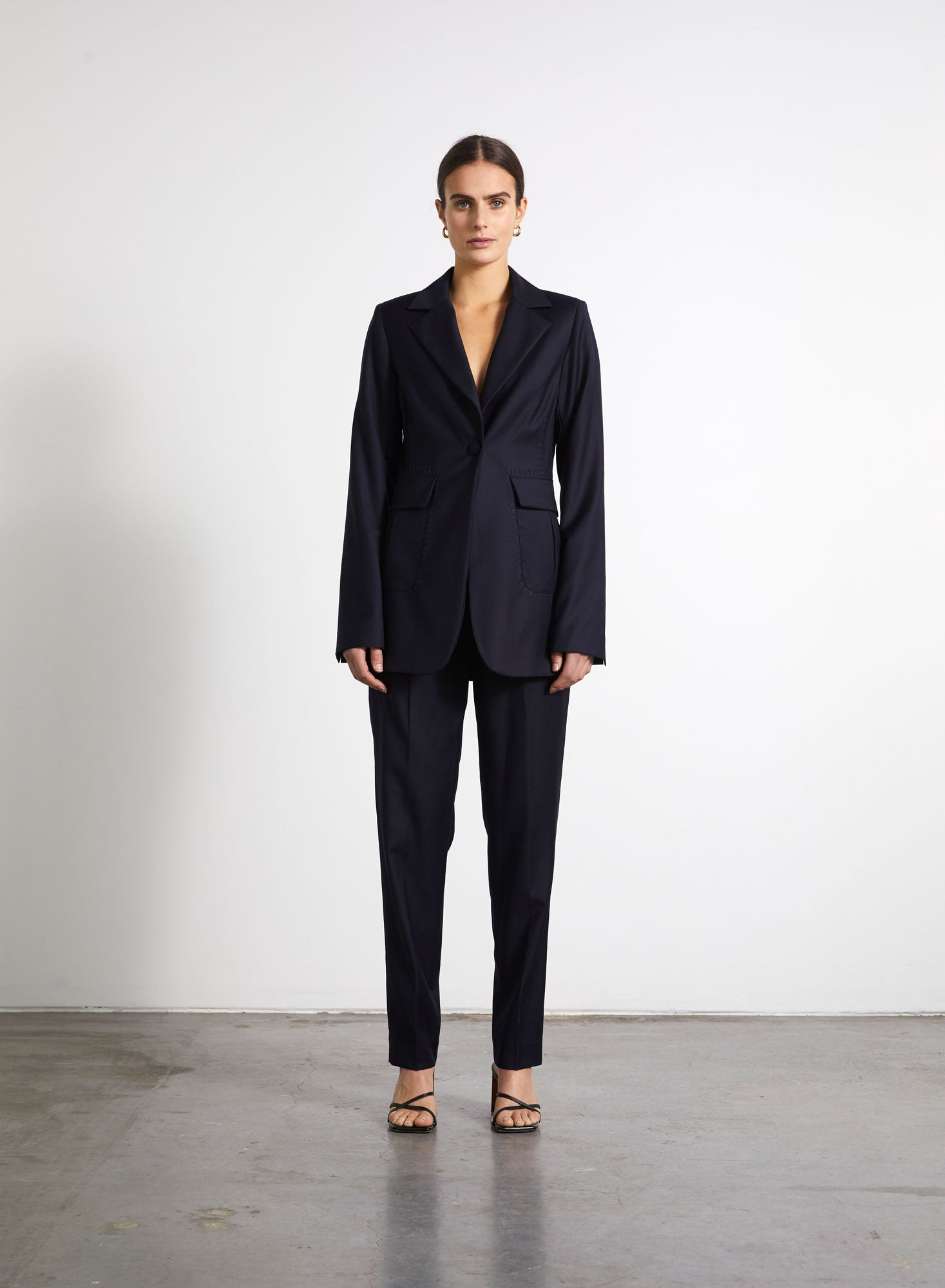Single Breasted Basket Stitch Blazer - Navy